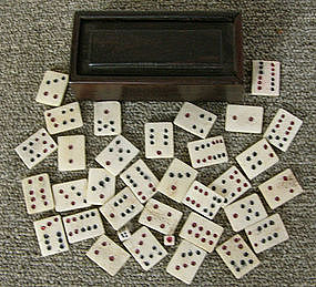 Qing Dynasty Chinese carved bone Domino set with box