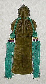 Antique Chinese Woman's Suede Fan Case with tassels