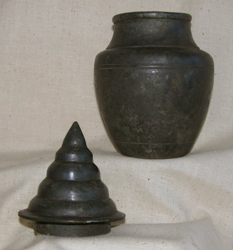 Antique Chinese lidded metal container for hair oil