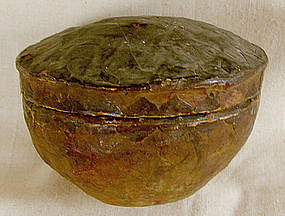 Antique Chinese paper mache container with lid
