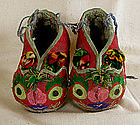Chinese toddler's shoes with embroidered cat face