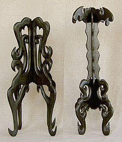 Antique Chinese elaborate wooden Hat Stands