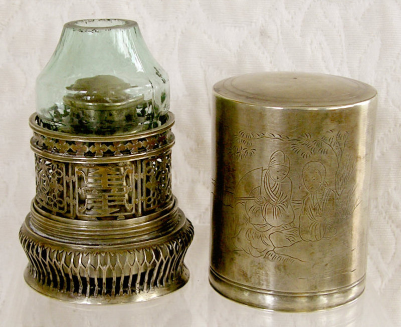 Antique Chinese silver Oil Lamp engraved cover