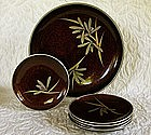 Japanese Nashiji Lacquer set serving bowl w 5 plates