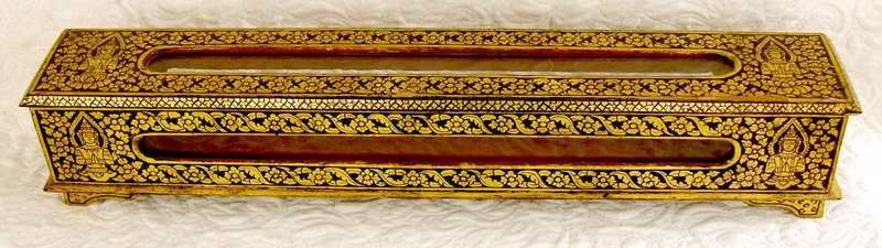 Burmese Lacquered Buddhist Sutra or Scripture Box