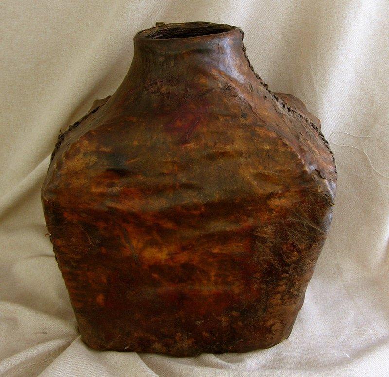 Large Antique Mongolian Leather Saki Storage Container