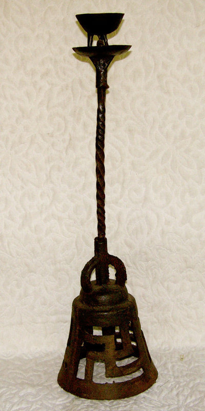"Antique Mongolian Iron oil lamp candle stand 25""  tall"