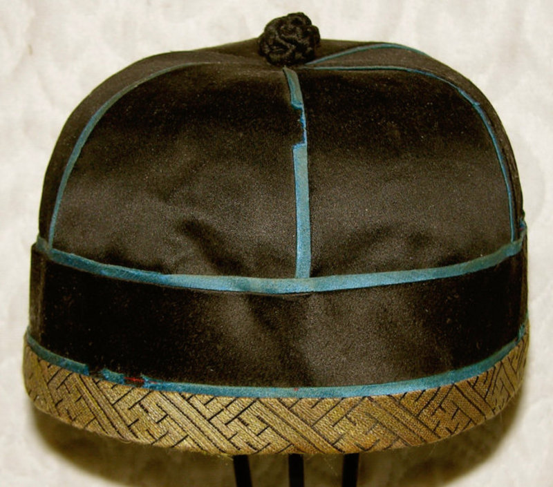 Antique Chinese traditional gentleman's silk hat
