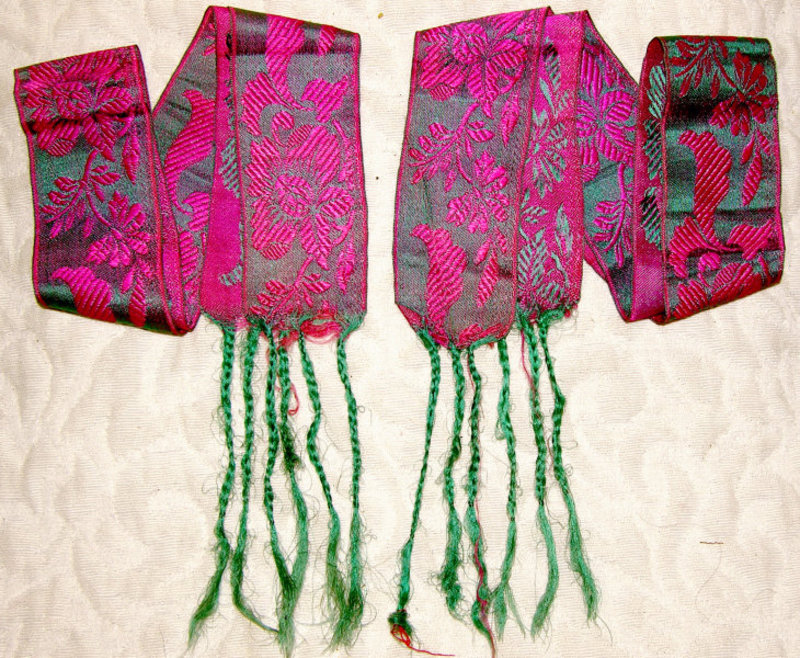 Pair of Antique Chinese Leggings sashes for Lotus Shoes