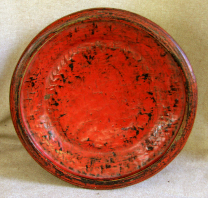 Antique Buddhist Temple Lacquer Offering Plate Burma