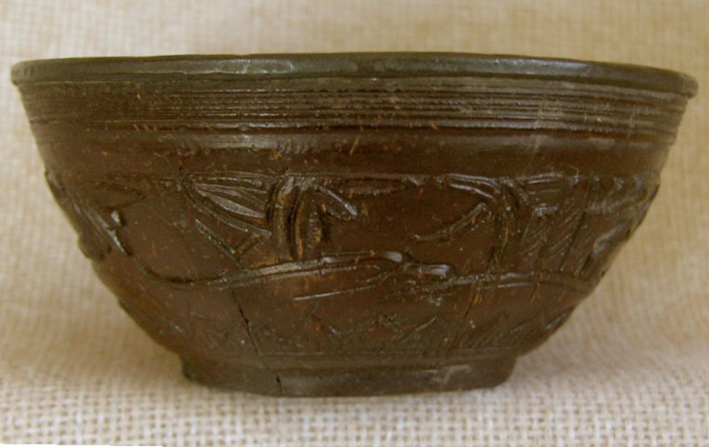 Antique Chinese carved coconut cups