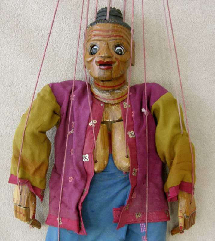 Antique String Mandaley Woman Puppet  from Thailand