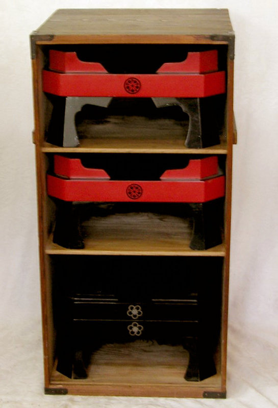 Boxed set of  6 Japanese Lacquer sushi serving trays