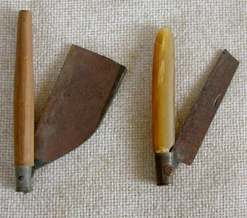 Two Antique Chinese Folding Shaving Razors