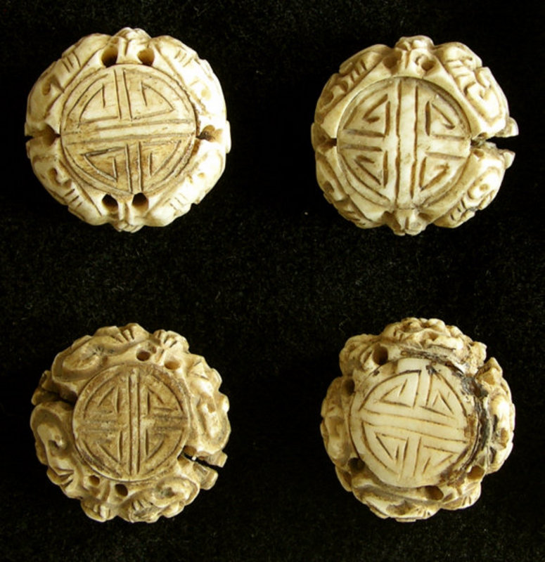 Antique Chinese hand carved bone toggles