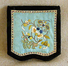 antique Chinese small embroidered woman's purse