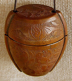 antique Chinese small carved wooden inro  container
