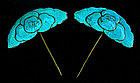Matched pair of large Lotus Flower Kingfisher ornaments