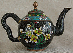 Antique Chinese Miniature Cloisonne Teapot