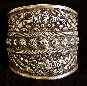 Chinese Miao Ethnic Minority Wide Silver Cuff Bracelet