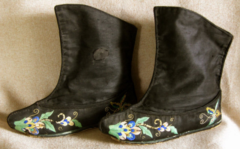Pair of Antique Chinese Woman's Embroidered Boots