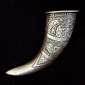 Chinese Miao Ethnic Minority Silver drinking horn