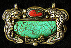 Tibetan pendant silver and bronze with turquoise coral