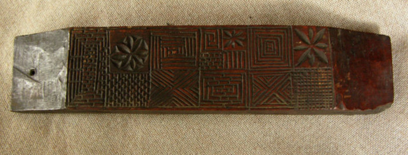 Antique Korean carved woodblock textile stencil