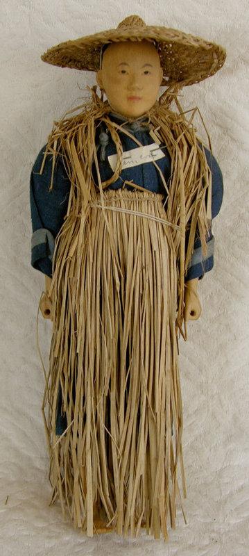 Chinese Door of Hope Doll Farmer Straw Raincoat
