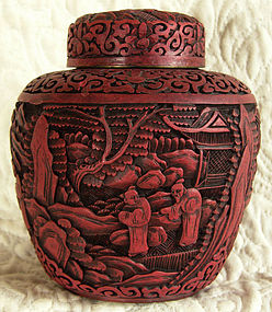 Antique Chinese Deeply Carved Cinnabar Covered Jar
