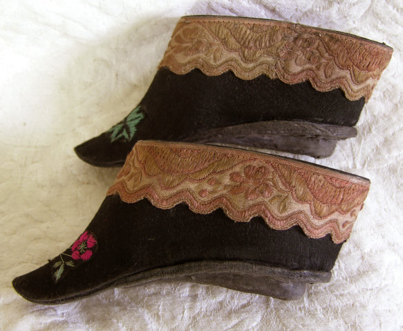 Pair Antique Chinese small embroidered lotus shoes