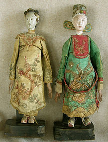 Pair of Male and Female Antique Chinese Opera Dolls