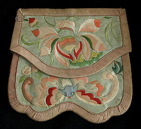 Antique Chinese small womans embroidered purse wallet