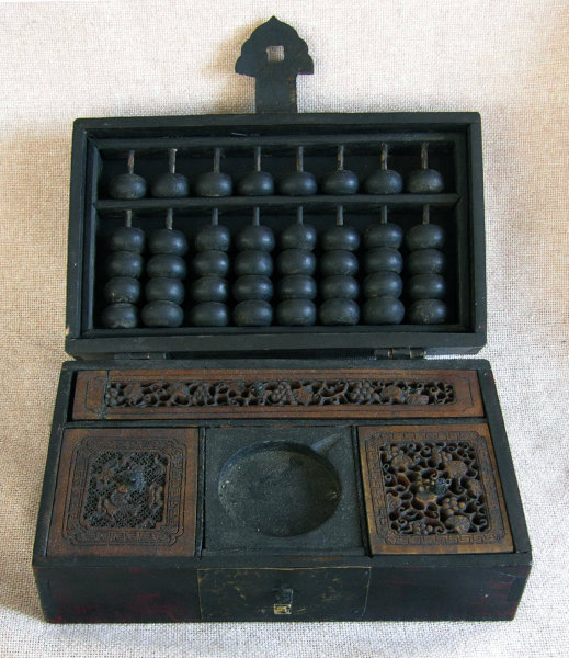 Antique Chinese box with inkstone and abacus Qing