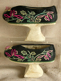 Pair of Antique Chinese Manchu Womans Platform Shoes