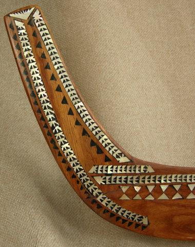 Solomon Islands ornate MOP model canoe on dolphin