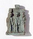 AN ANCIENT EGYPTIAN FAIENCE TRIAD AMULET