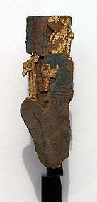 AN ANCIENT EGYPTIAN GILT CARTONNAGE MALE DEITY