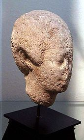 AN ANCIENT EGYPTIAN GYPSUM HEAD OF A MAN