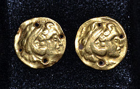 A PAIR OF HELLENISTIC GREEK GOLD REPOUSSE APPLIQUES