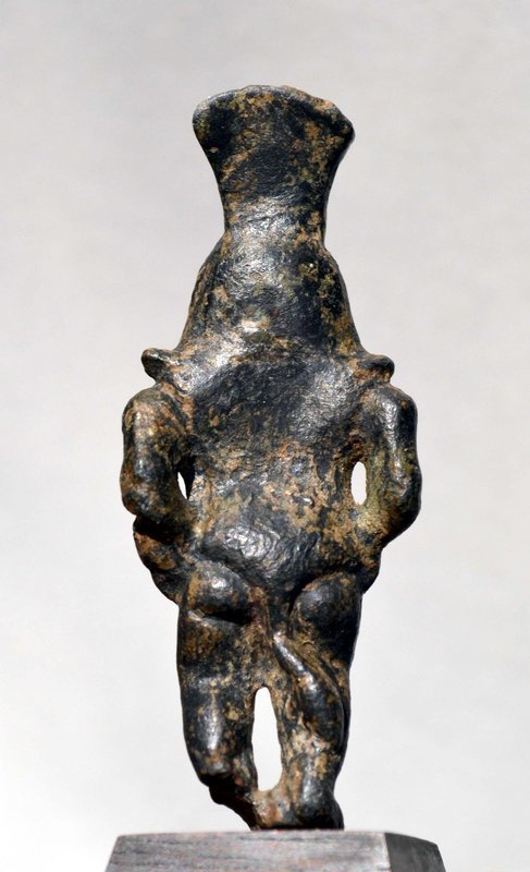 AN ANCIENT EGYPTIAN BRONZE FIGURE OF BES