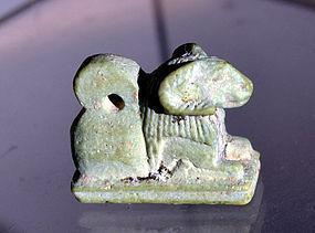 AN ANCIENT EGYPTIAN FAIENCE KHNUM AMULET