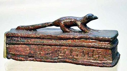 AN INSCRIBED EGYPTIAN BRONZE MONGOOSE VOTIVE SARCOPHAGUS