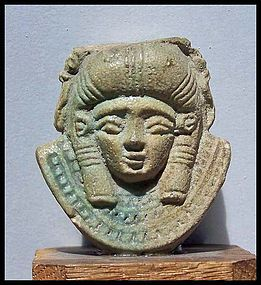 AN EGYPTIAN FAIENCE HATHOR SISTRUM FRAGMENT