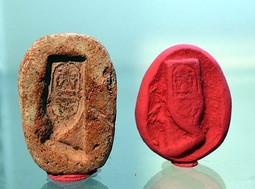 AN EGYPTIAN NEW KINGDOM KHEPESH MOLD WITH CARTOUCHE