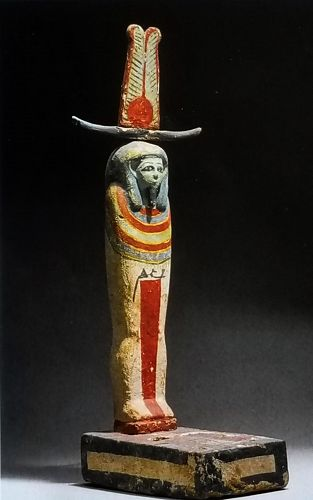 AN ANCIENT EGYPTIAN POLYCHROME WOOD PTAH-SOKER-OSIRIS