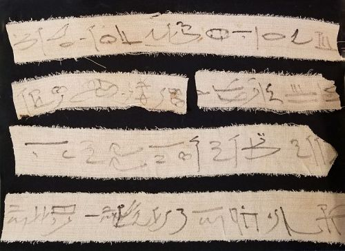 ANCIENT EGYPTIAN LINEN MUMMY BANDAGES FOR HARPAKHEM