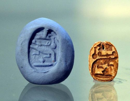 AN EGYPTIAN MIDDLE KINGDOM SCARAB FOR SOBEKHOTEP