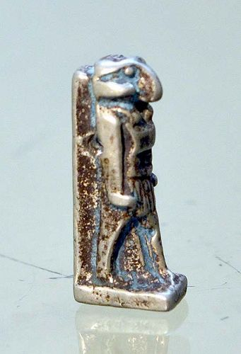 AN ANCIENT EGYPTIAN SILVER KHNUM AMULET