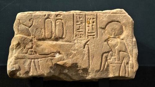 AN ANCIENT EGYPTIAN SANDSTONE RELIEF